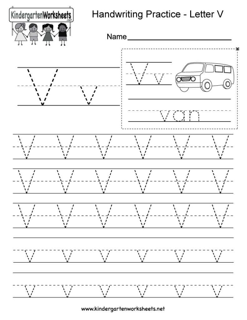 Letter V Handwriting Worksheet For Kindergarteners. You Can Within Letter Tracing Online