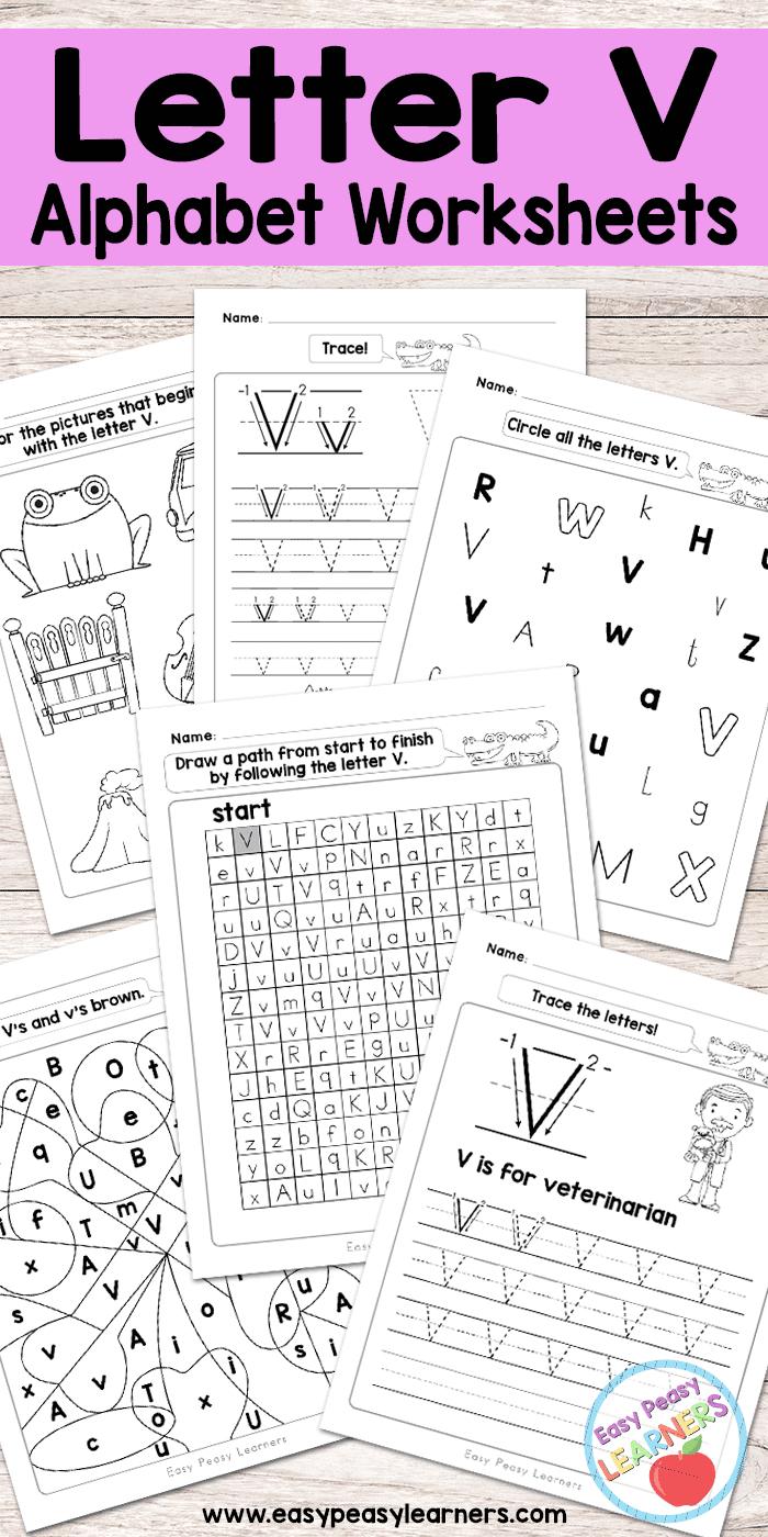 Letter V Worksheets - Alphabet Series - Easy Peasy Learners within Letter V Worksheets Free Printables