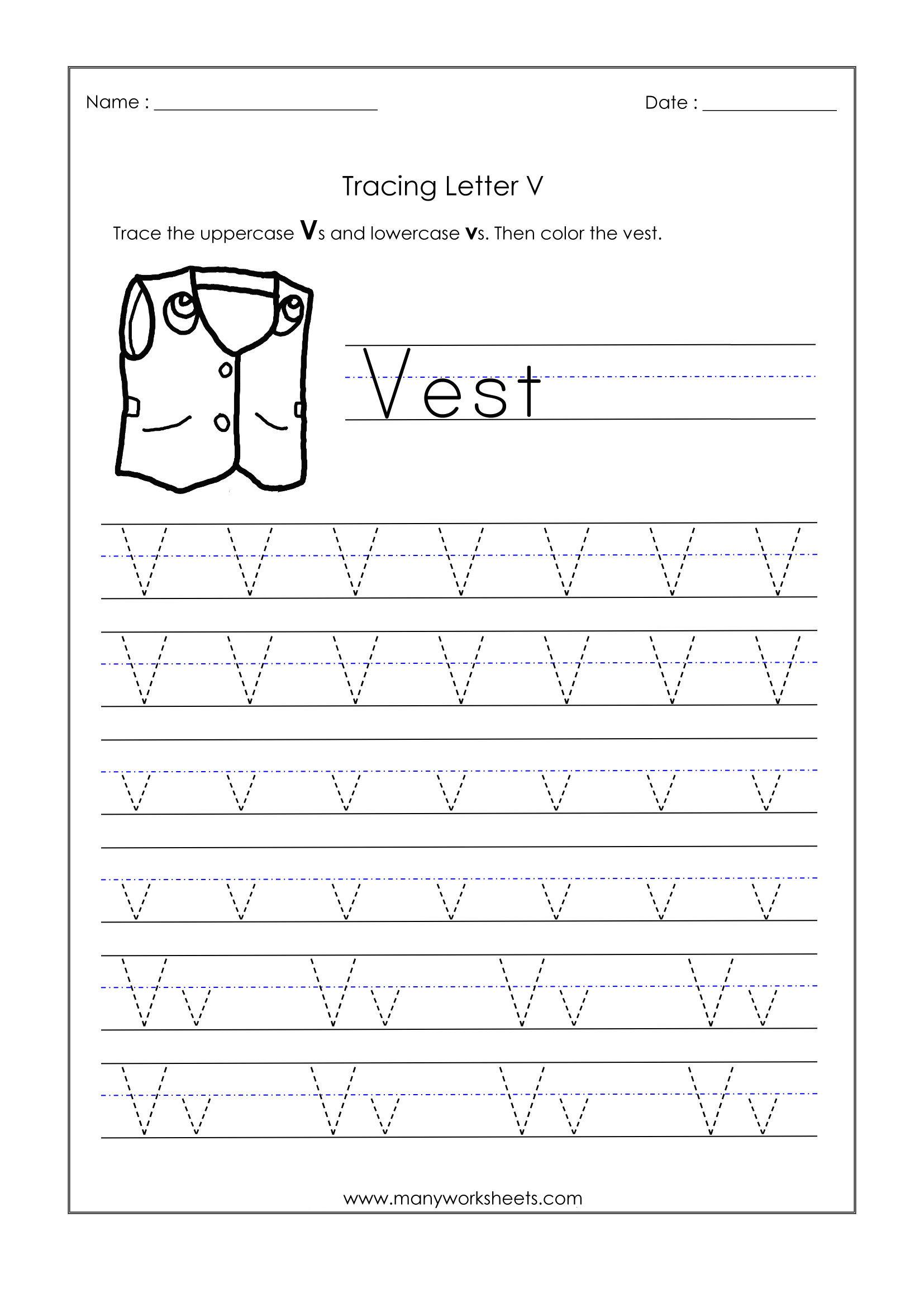 Letter V Worksheets For Kindergarten – Trace Dotted Letters inside Letter V Tracing Worksheets For Preschool