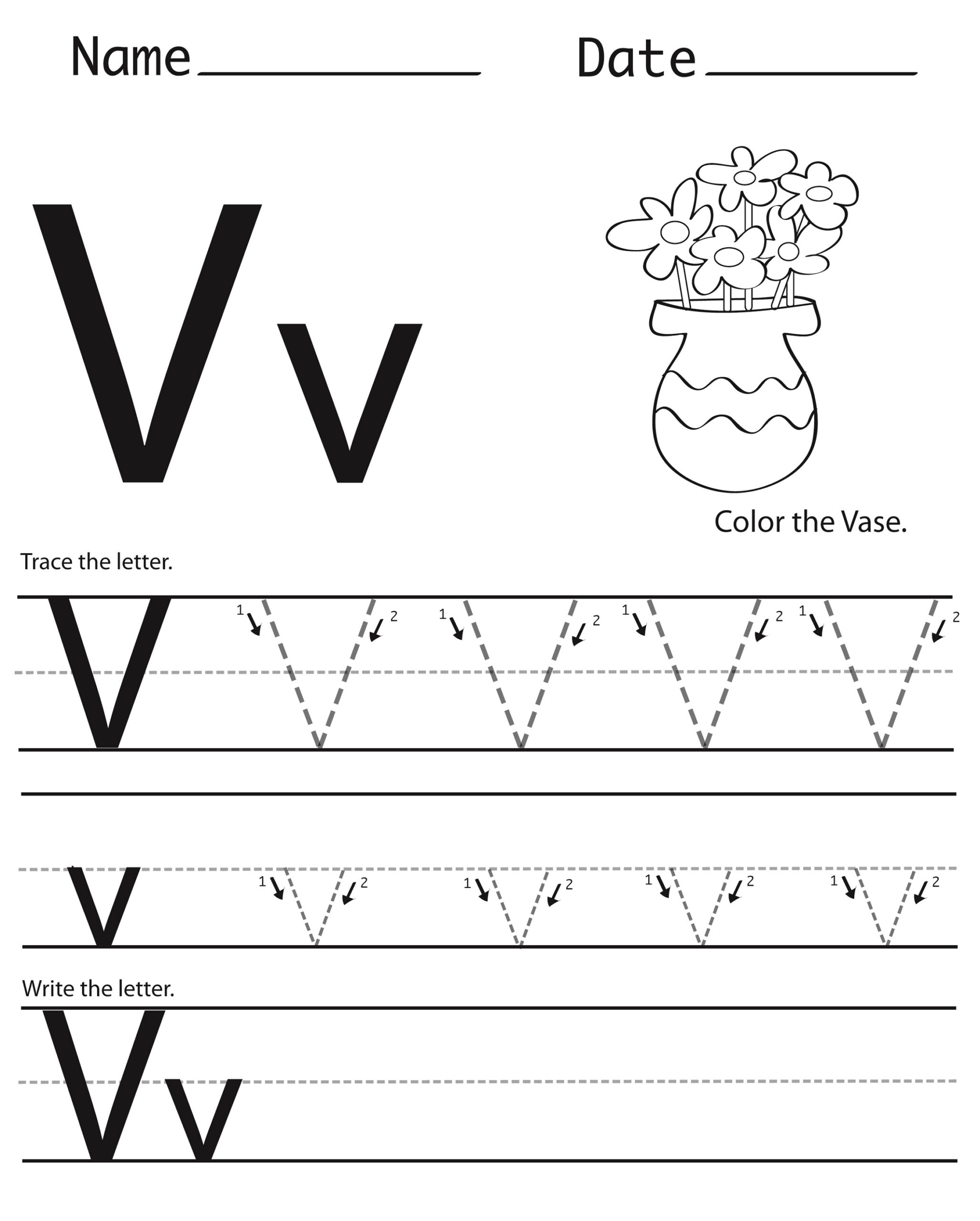 Letter V Worksheets To Print   Activity Shelter regarding Letter V Tracing Preschool