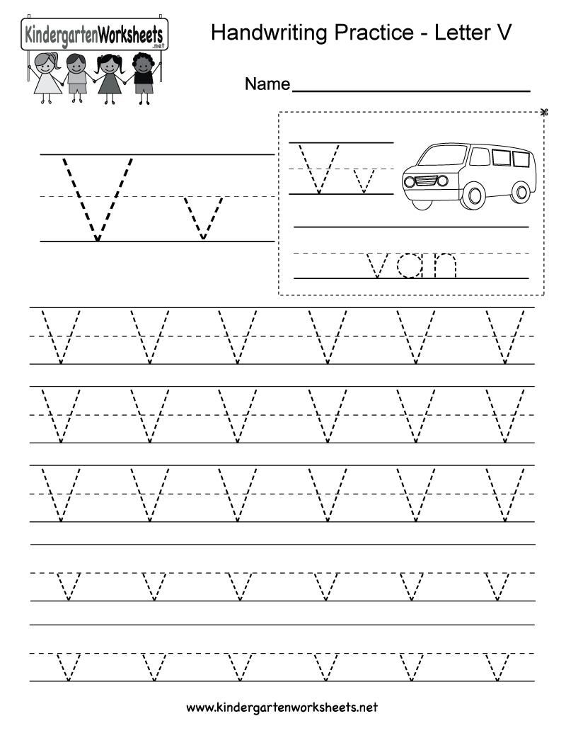 Letter V Writing Practice Worksheet - Free Kindergarten intended for Letter V Worksheets Free Printables