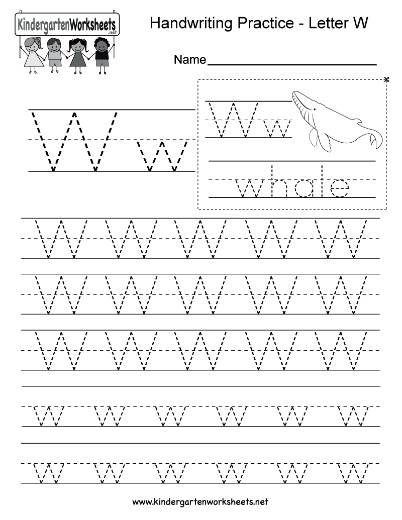 Letter W Handwriting Practice Worksheet For Kindergarteners pertaining to Letter W Tracing Page