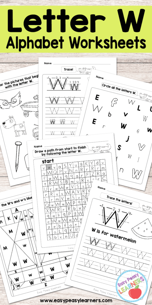 Letter W Worksheets   Alphabet Series   Easy Peasy Learners Intended For Alphabet Worksheets Free