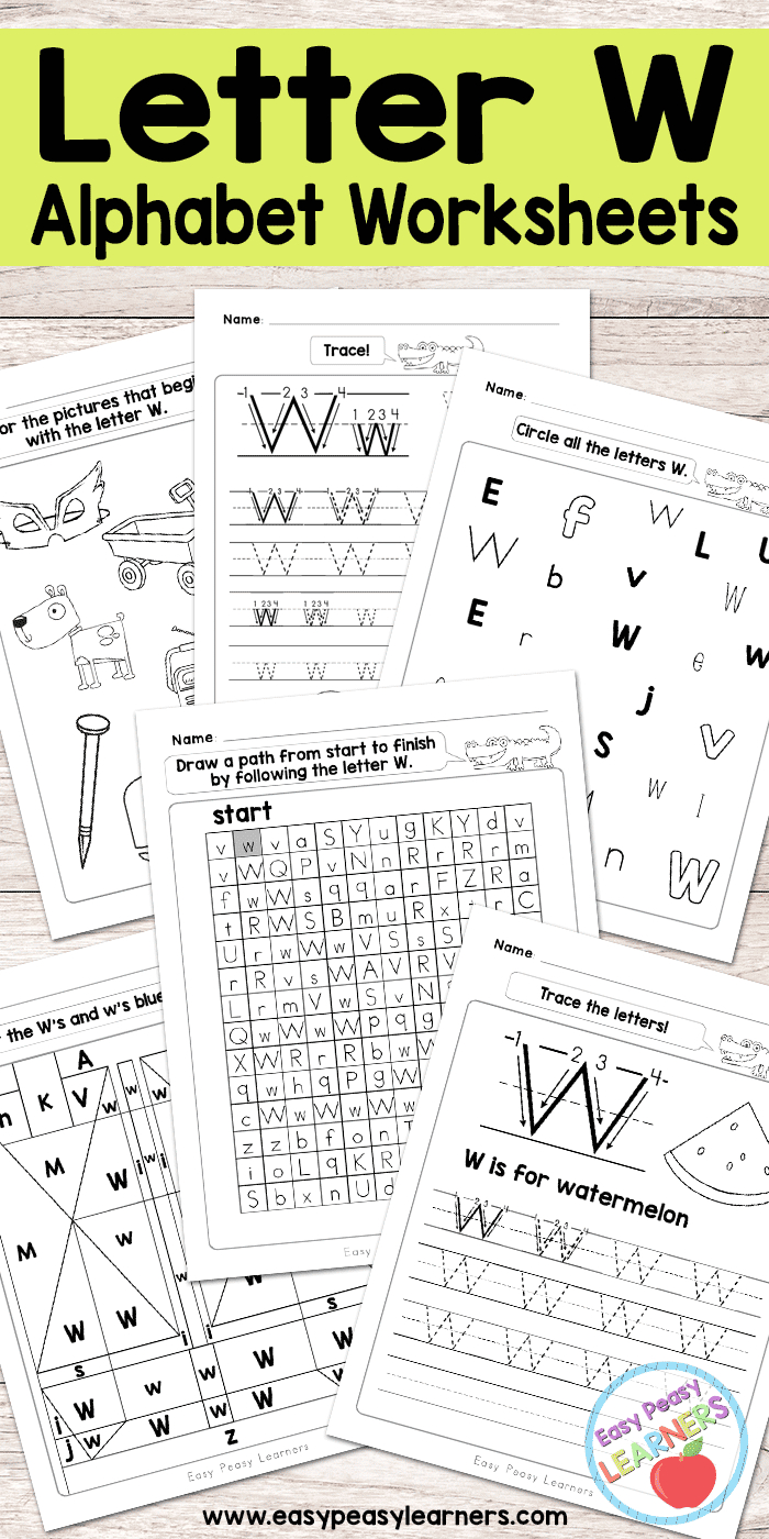 Letter W Worksheets - Alphabet Series - Easy Peasy Learners intended for Alphabet Worksheets Free