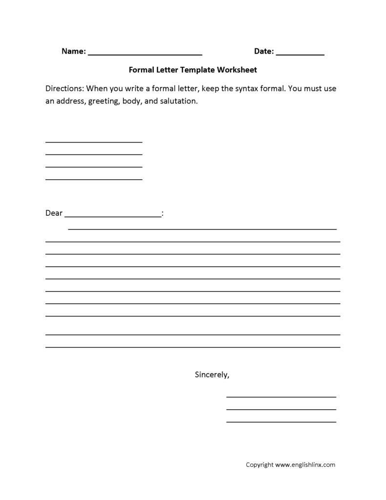 Letter Writing Worksheets | Formal Letter Writing Worksheets Regarding Letter Writing Worksheets For Grade 5