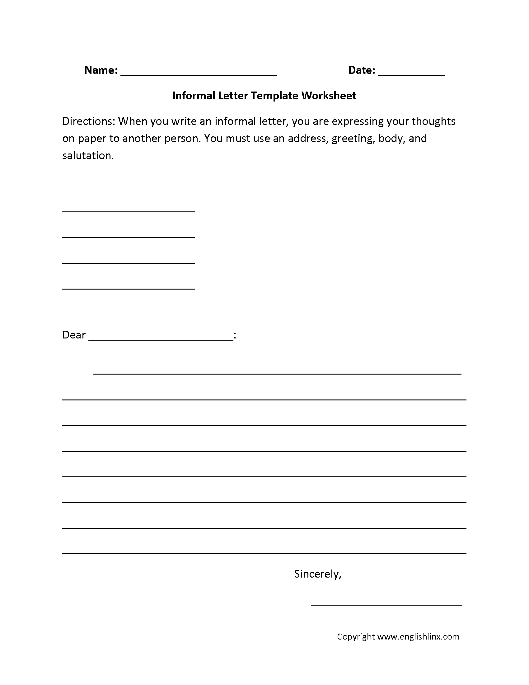 Letter Writing Worksheets | Informal Letter Writing Worksheets for Letter Writing Worksheets Pdf