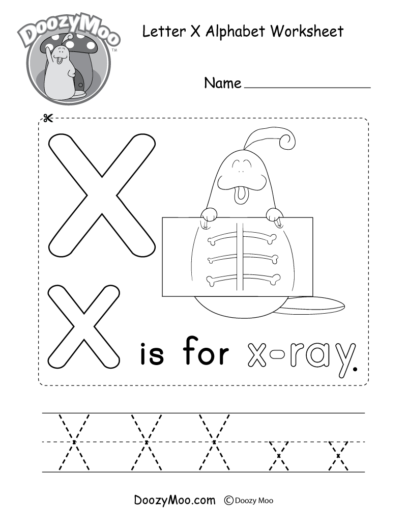 Letter X Alphabet Activity Worksheet - Doozy Moo in Preschool Alphabet X Worksheets
