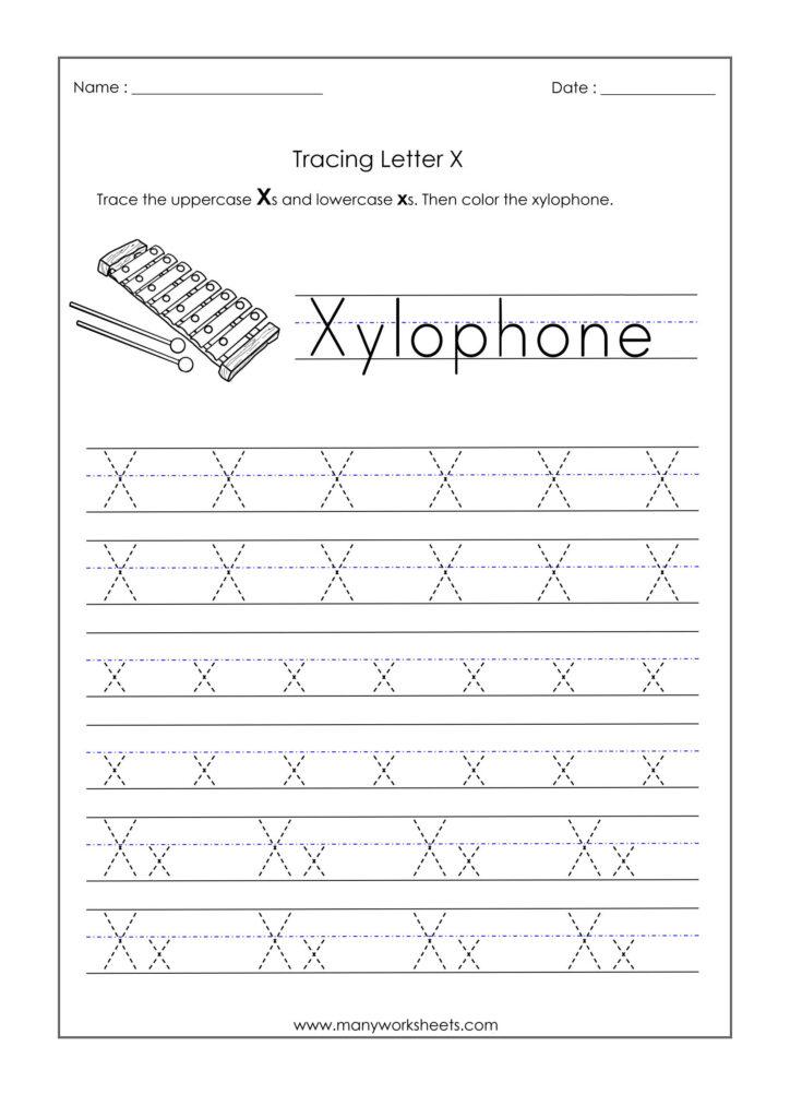 Letter X Worksheets For Kindergarten – Trace Dotted Letters Intended For Letter X Worksheets Pdf