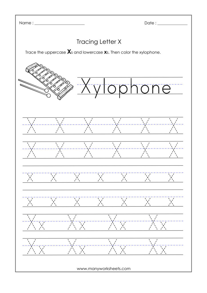 Letter X Worksheets For Kindergarten – Trace Dotted Letters Within X Letter Tracing
