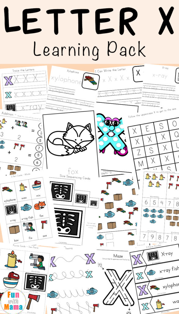 Letter X Worksheets For Preschool + Kindergarten   Fun With Mama Intended For Letter X Worksheets Pdf