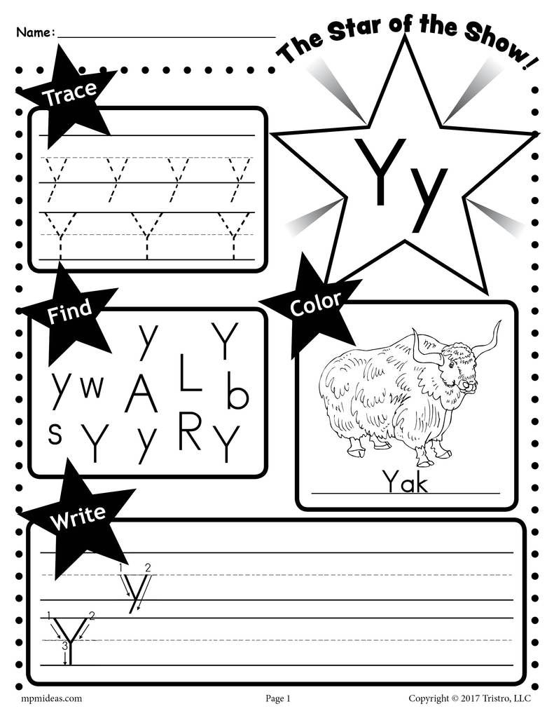 Letter Y Worksheet: Tracing, Coloring, Writing & More with Letter Y Worksheets For Prek