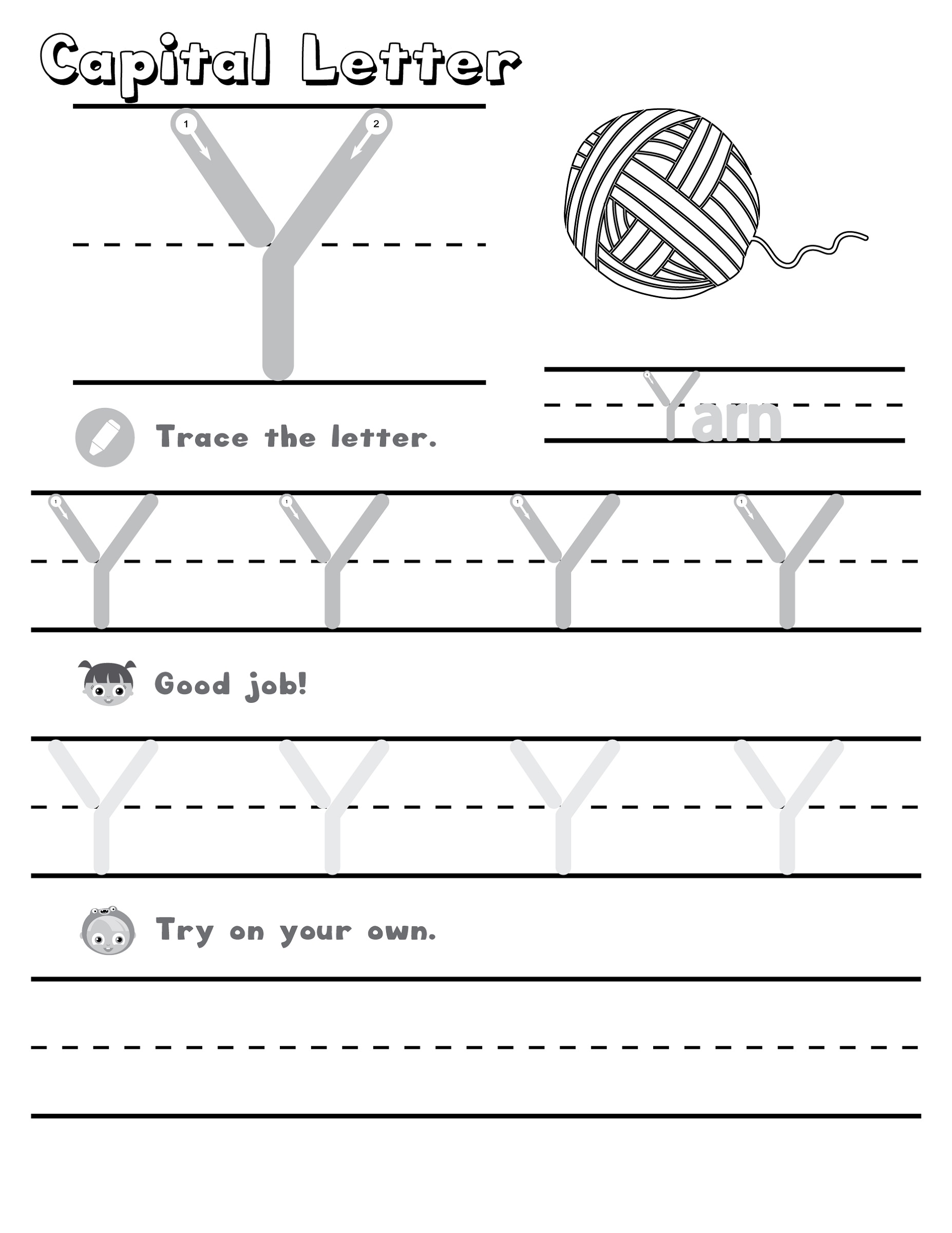 Letter Y Worksheets   Printable Worksheets And Activities with Letter Tracing Y