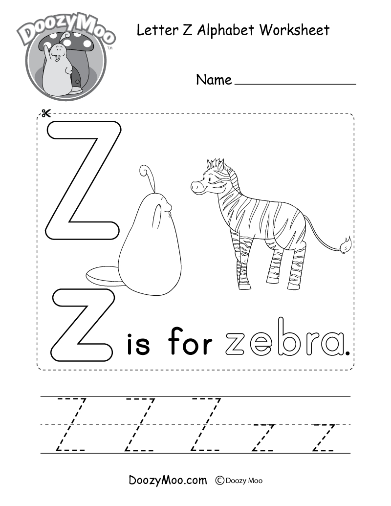 Letter Z Alphabet Activity Worksheet - Doozy Moo in Letter Z Tracing Page