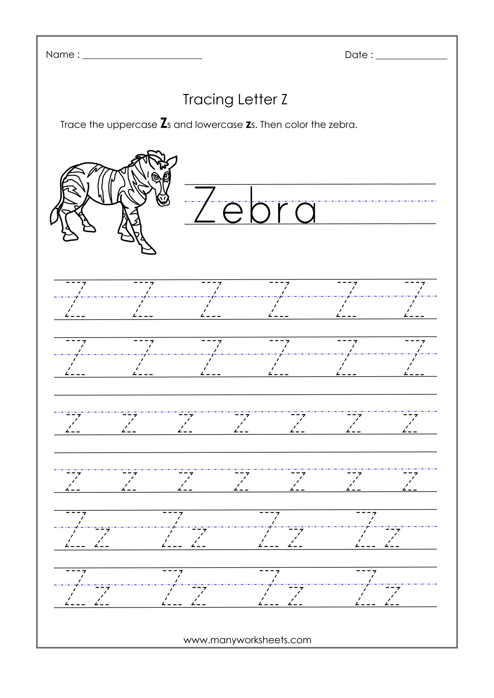 Letter Z Worksheets For Kindergarten – Trace Dotted Letters throughout Letter Z Tracing Worksheets