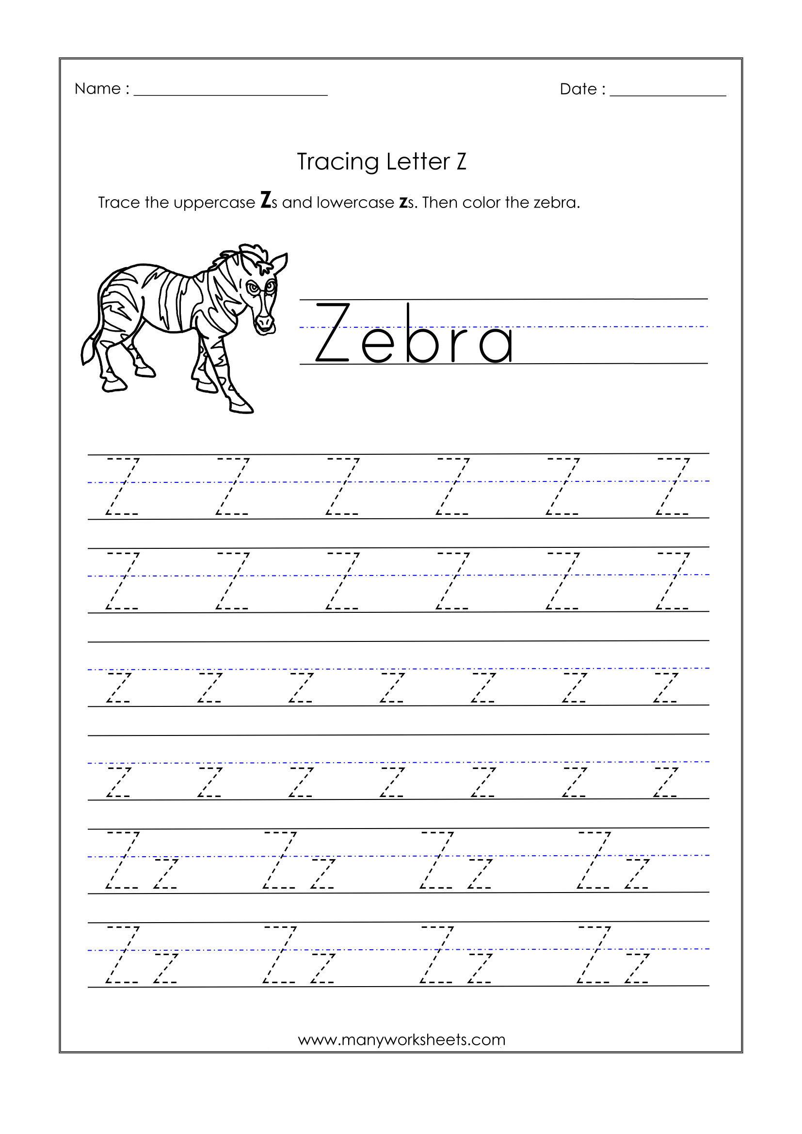Letter Z Worksheets For Kindergarten – Trace Dotted Letters with Letter Z Worksheets Pre K
