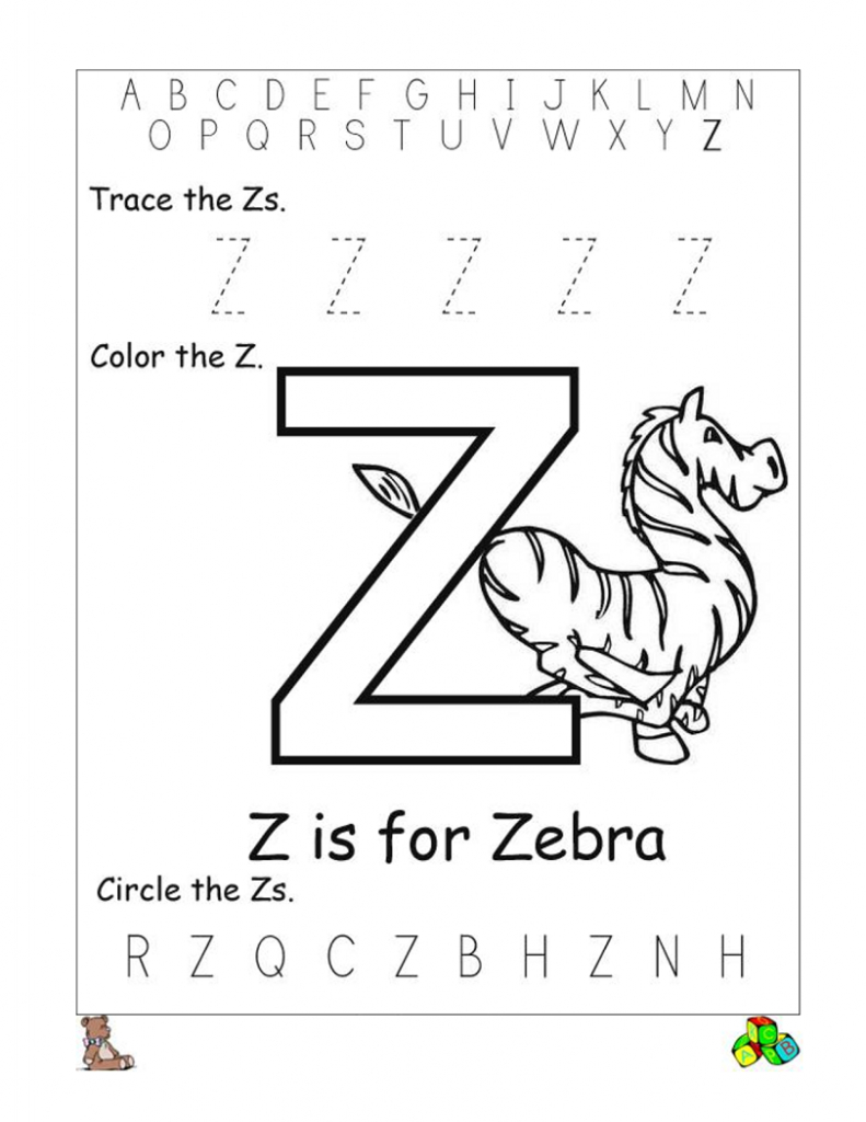 Letter Z Worksheets For Preschoolers And Kindergarten Kids inside Letter Z Worksheets For Prek