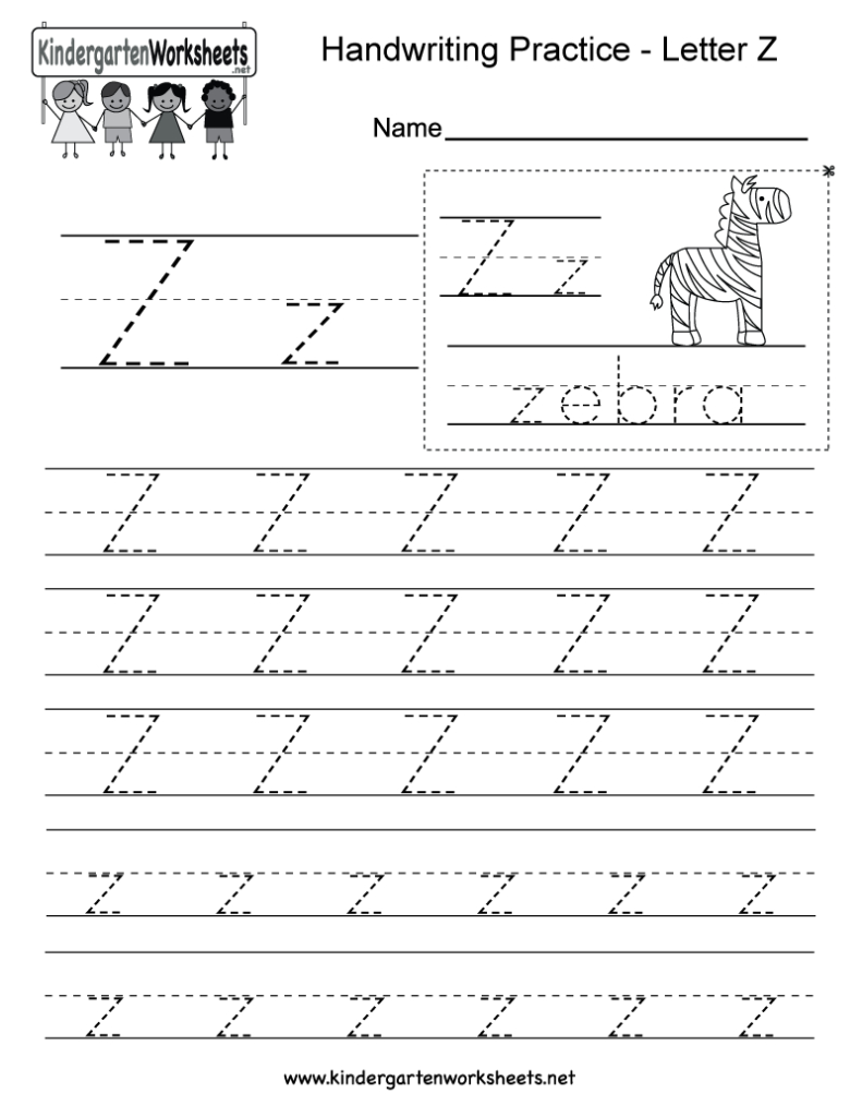 Letter Z Writing Practice Worksheet   Free Kindergarten Within Letter Z Tracing Page