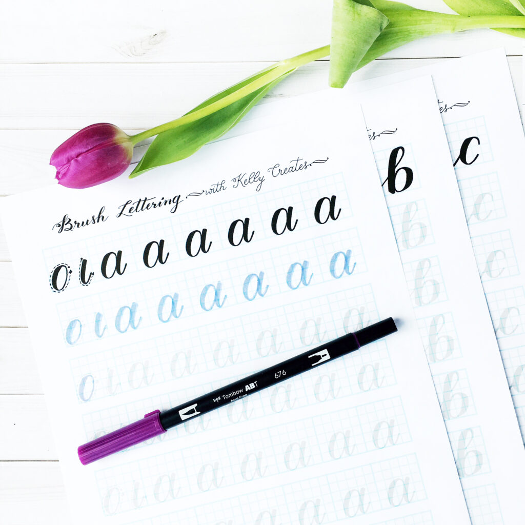Lowercase Alphabet For Large Brush Pens (A) In Alphabet Worksheets Brush Lettering