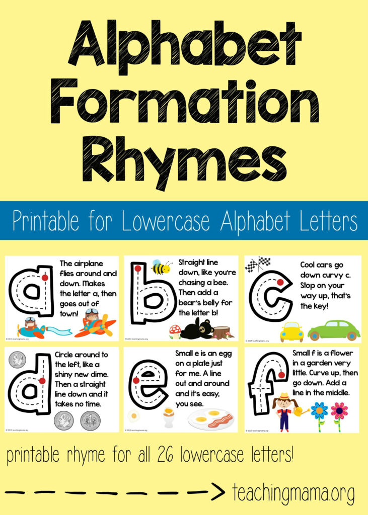 Lowercase Alphabet Formation Rhymes For Alphabet Tracing Rhymes