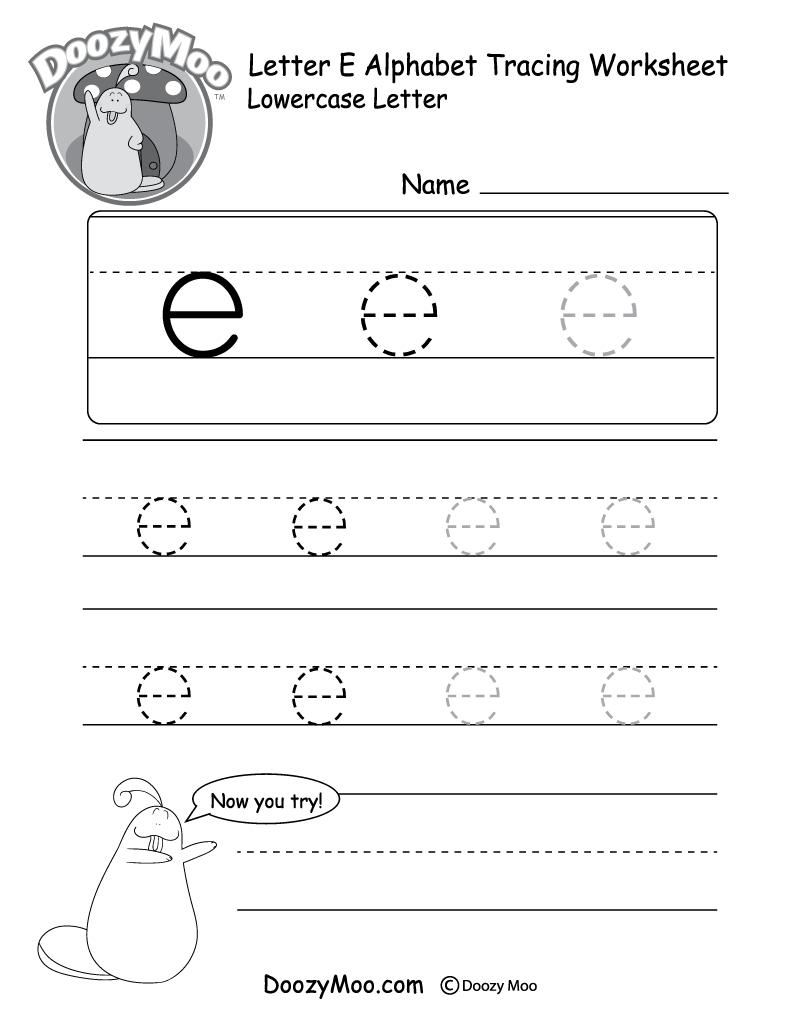 """Lowercase Letter """"e"""" Tracing Worksheet - Doozy Moo regarding Letter E Worksheets For Kindergarten"""