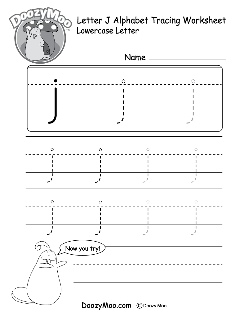 "Lowercase Letter ""j"" Tracing Worksheet - Doozy Moo throughout Tracing Letter J Preschool"