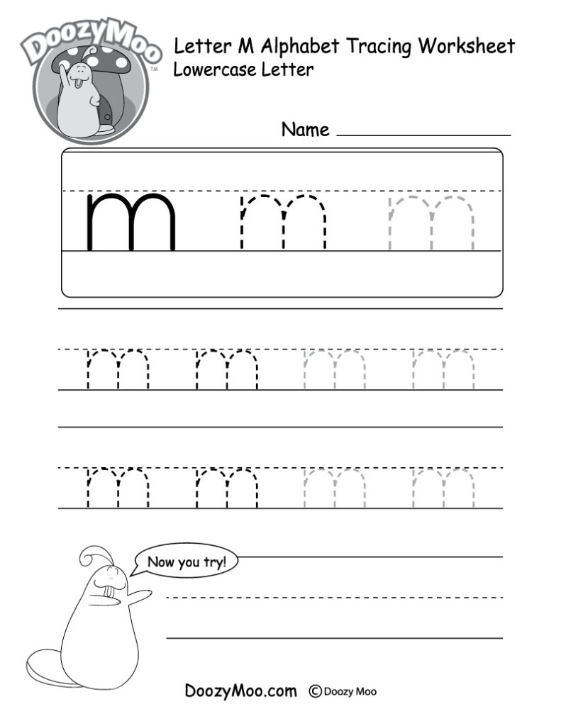 "Lowercase Letter ""m"" Tracing Worksheet   Doozy Moo Throughout Letter M Tracing Preschool"
