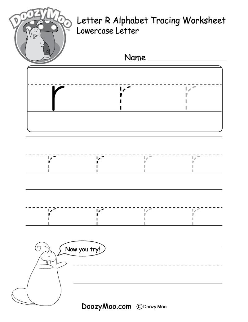 "Lowercase Letter ""r"" Tracing Worksheet - Doozy Moo for Letter R Worksheets For Kindergarten"