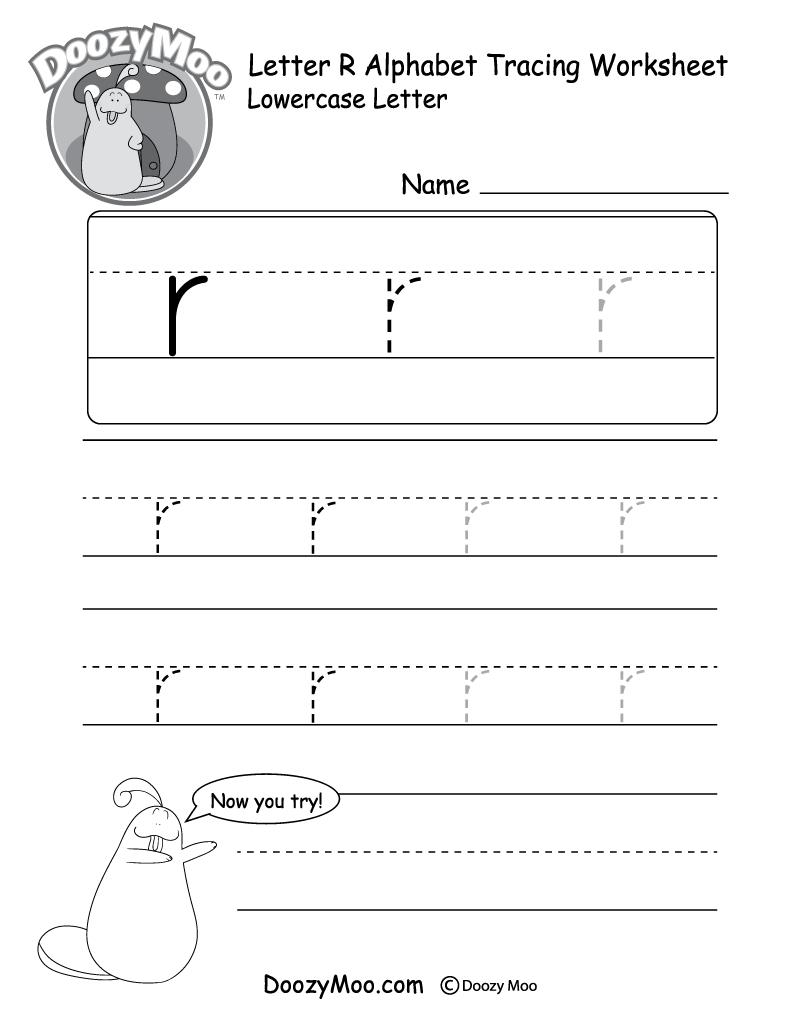 "Lowercase Letter ""r"" Tracing Worksheet - Doozy Moo with Letter R Worksheets Printable"