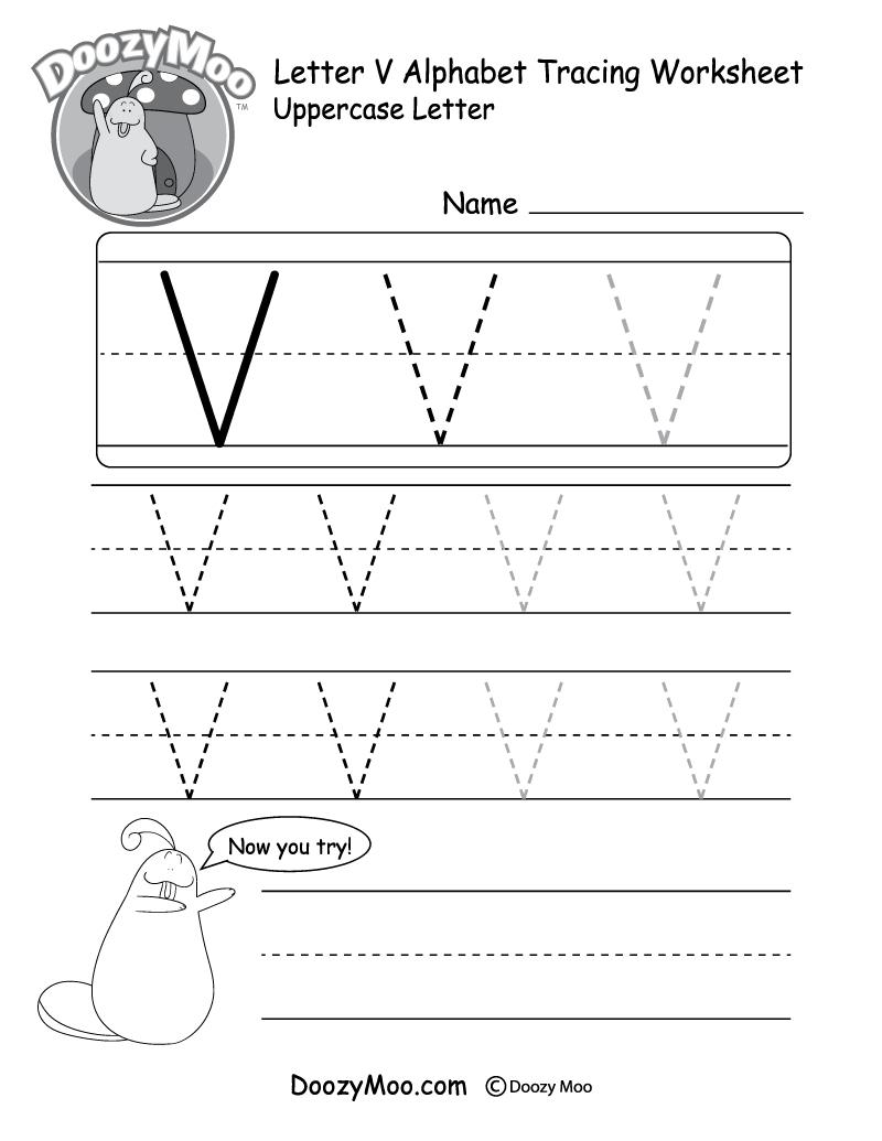 "Lowercase Letter ""v"" Tracing Worksheet - Doozy Moo within Letter V Worksheets Free Printables"