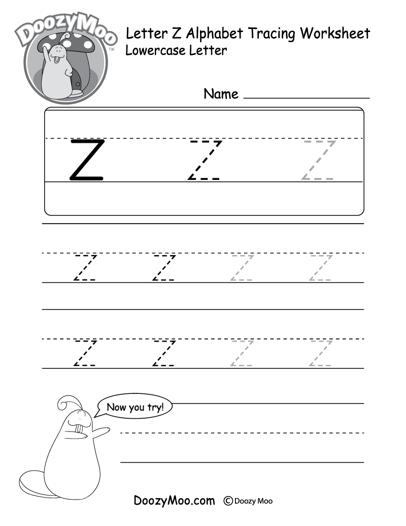 "Lowercase Letter ""z"" Tracing Worksheet - Doozy Moo in A To Z Name Tracing Worksheets"