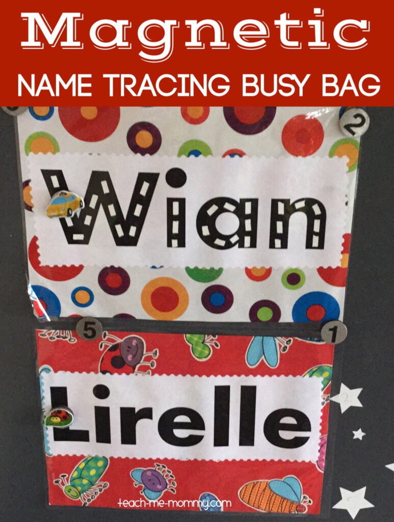 Magnetic Name Trace Busy Bag   Teach Me Mommy Pertaining To Name Tracing Powerful Mothering