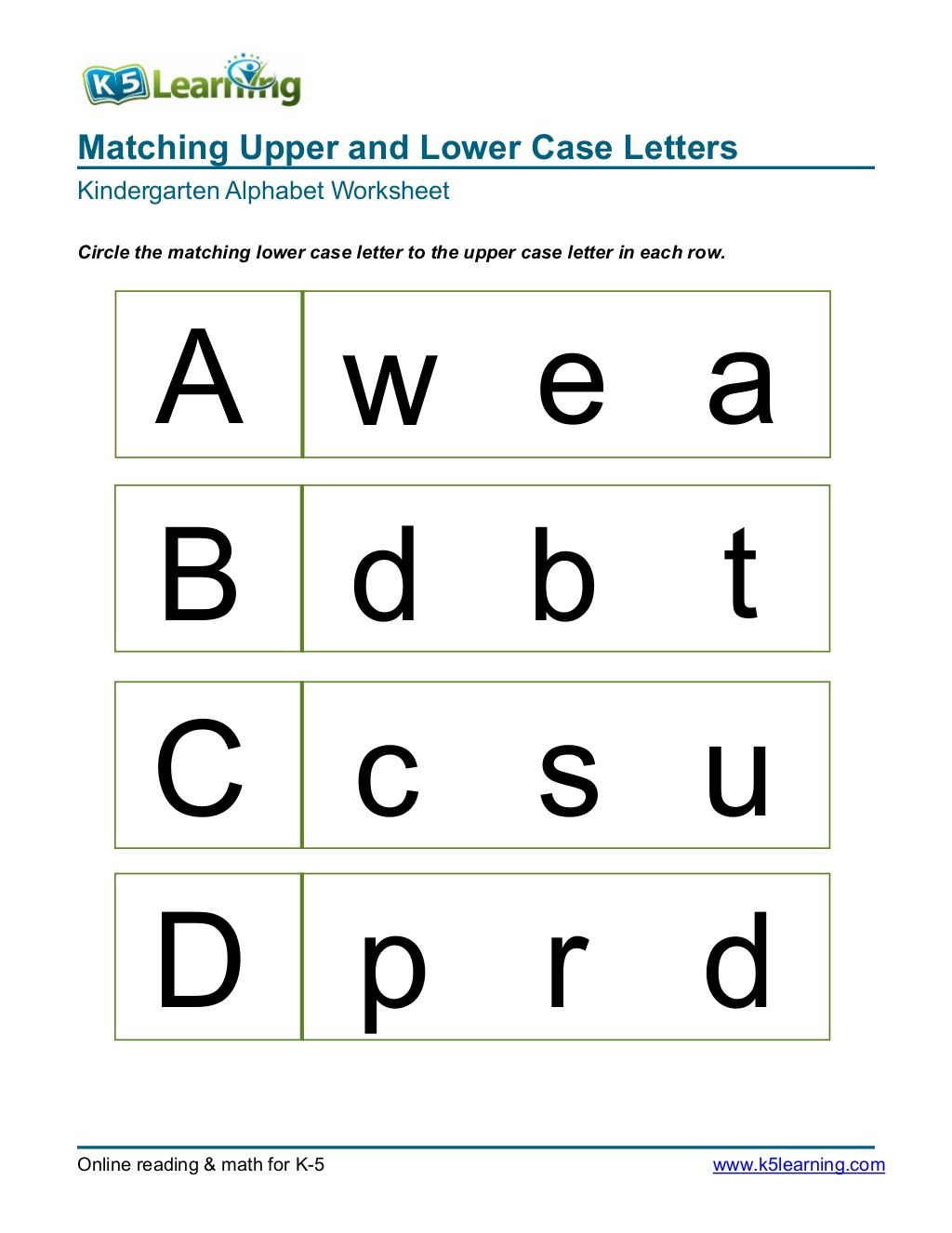 Matching Upper And Lower Case Letters Kindergarten Alphabet in Letter Tracing Online