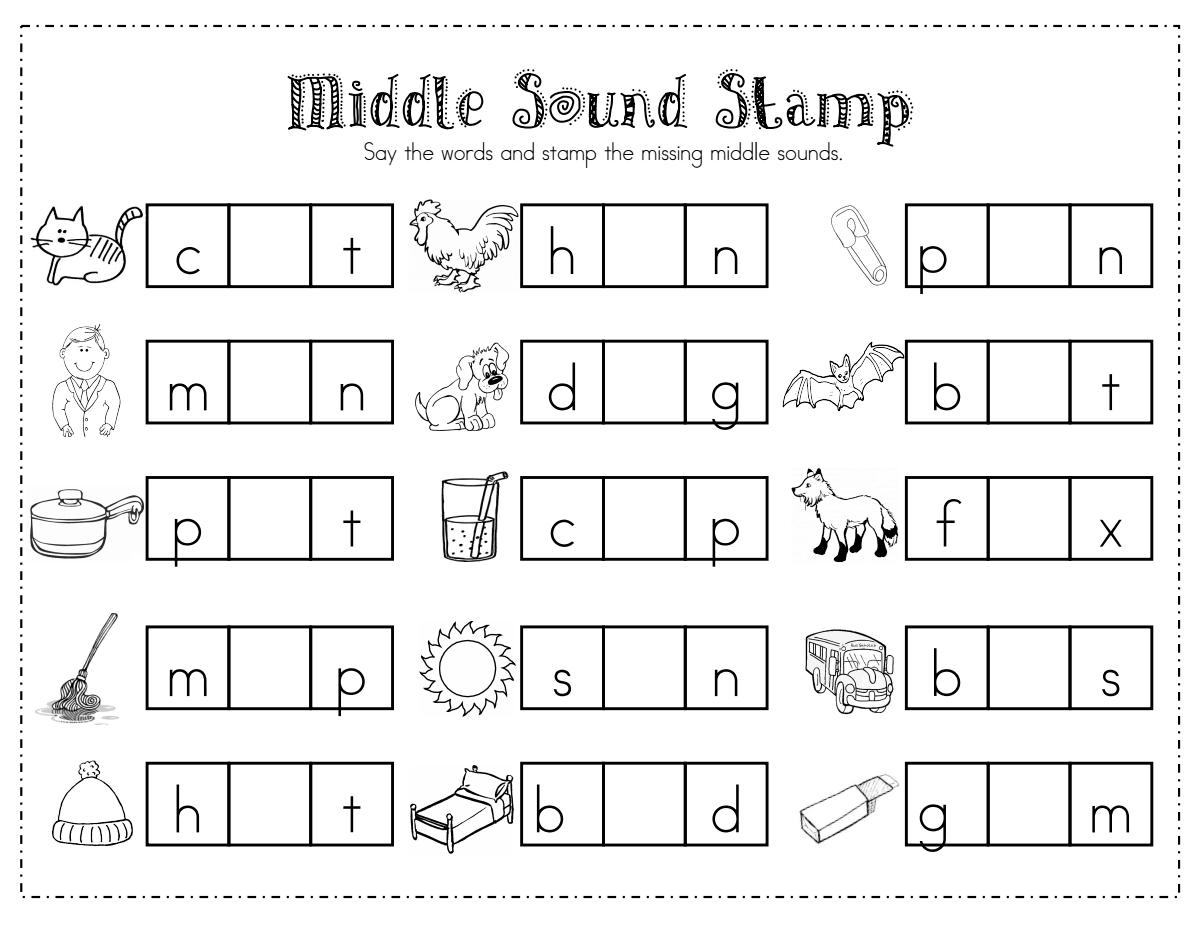 Middle Sound Stamp.pdf | Word Work Kindergarten with Letter Identification Worksheets Pdf