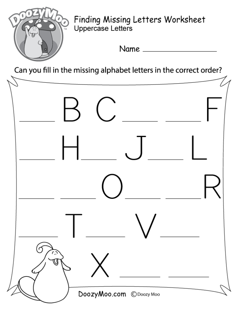 Missing Letter Worksheets (Free Printables)   Doozy Moo Pertaining To Letter Identification Worksheets Pdf