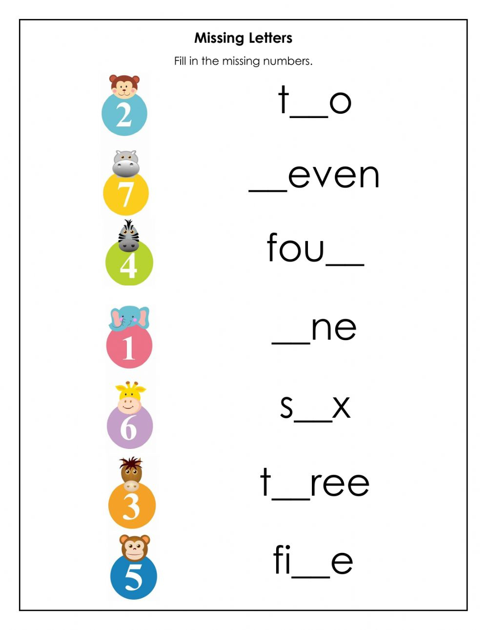 Missing Letters In Number Names - Interactive Worksheet for Letter Name Worksheets