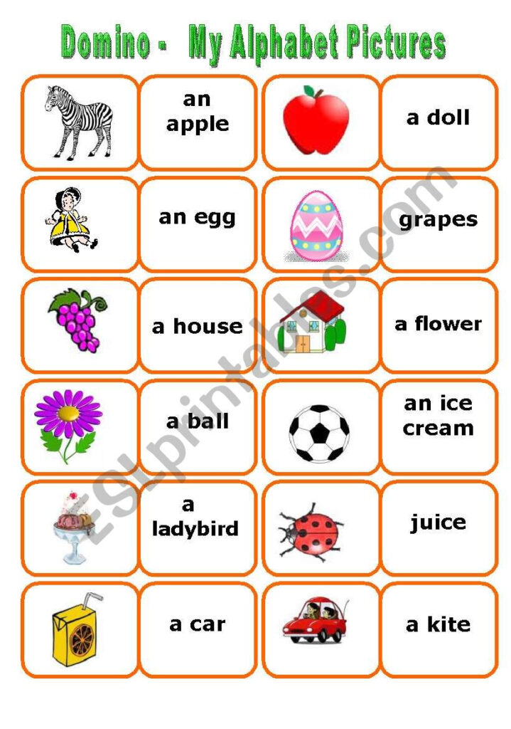 My Alphabet Words Domino   2 Sets In One Ws   Esl Worksheet Within Alphabet Words Worksheets