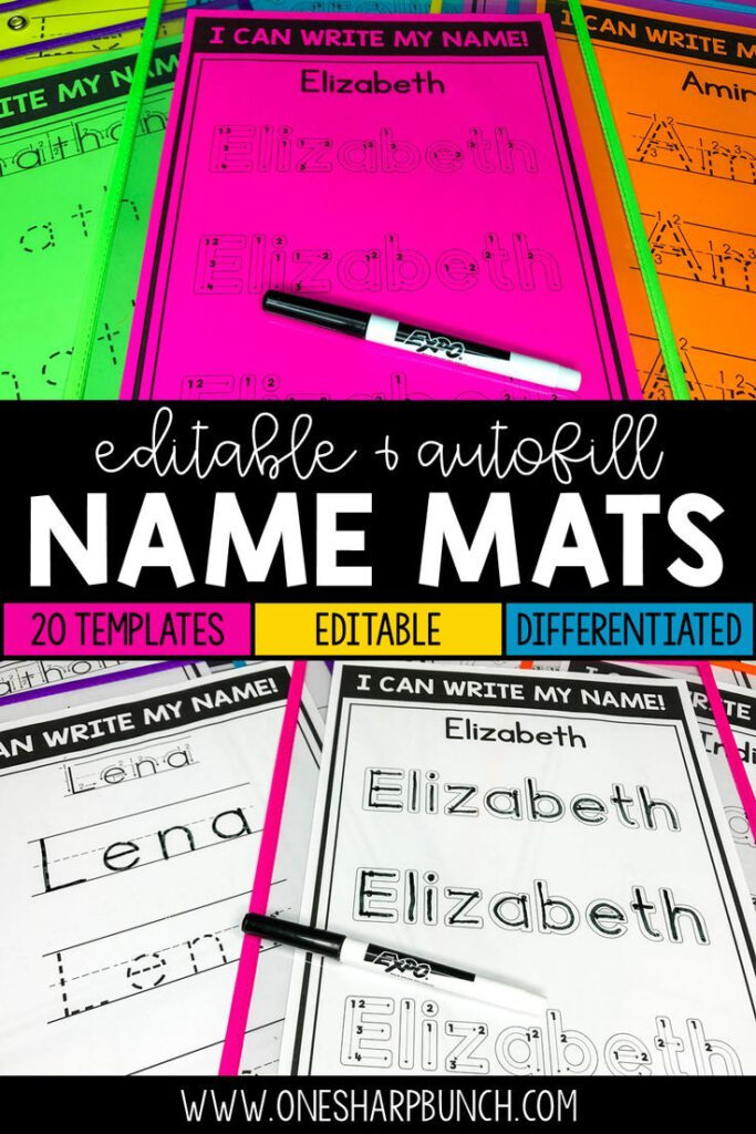 Name Practice Mats Editable | Name Practice, Kindergarten Within Name Tracing Mats