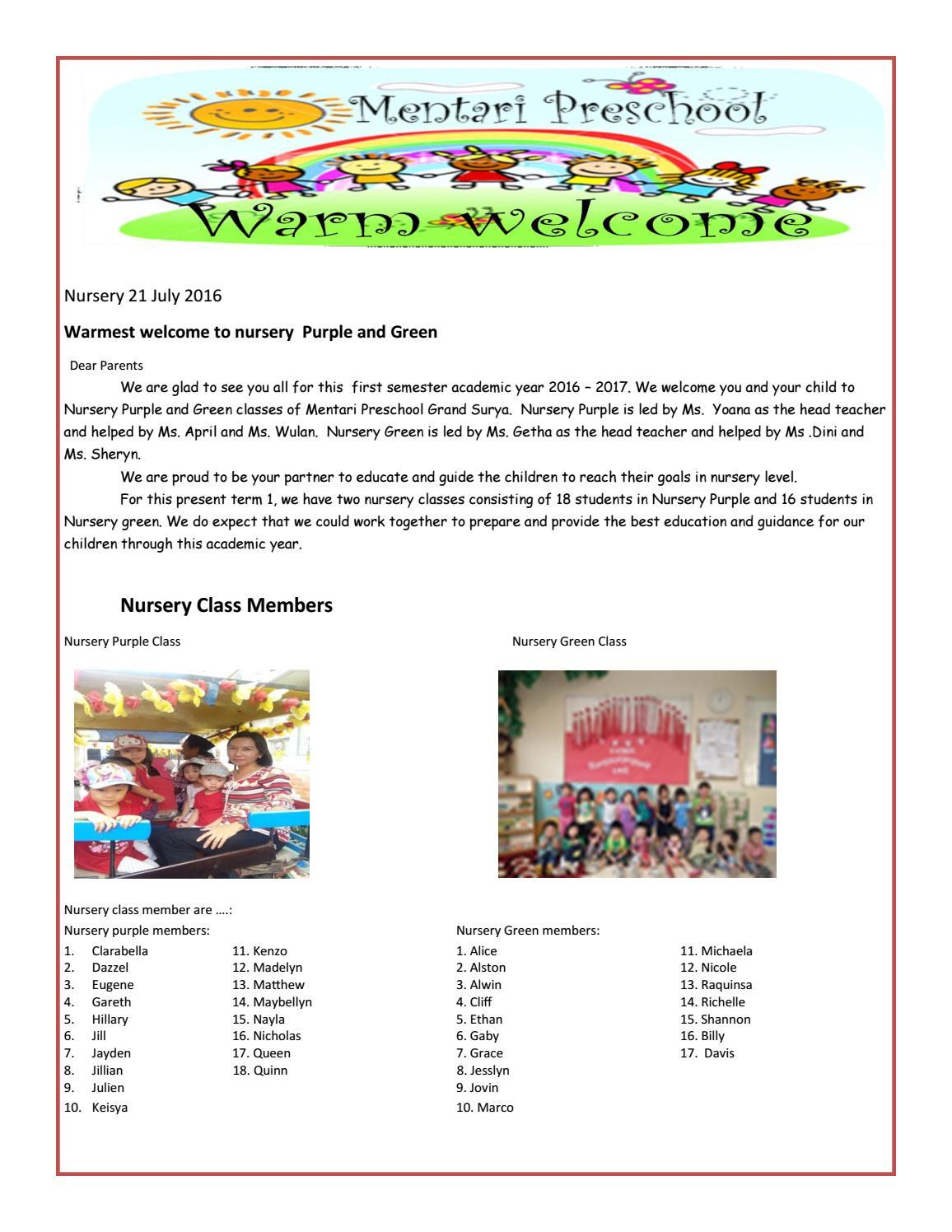 News Letter Nursery Purplementari Grand Surya - Issuu intended for Name Tracing Jayden