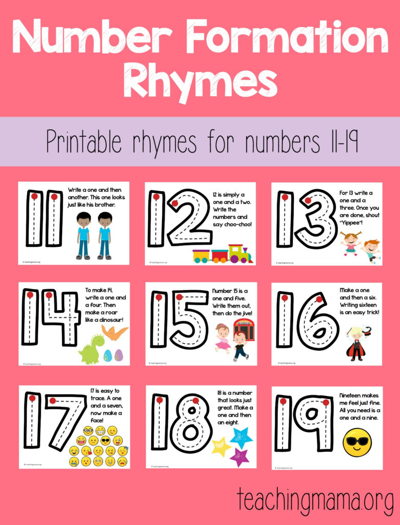Number Formation Rhymes For 11 19 In Alphabet Tracing Rhymes