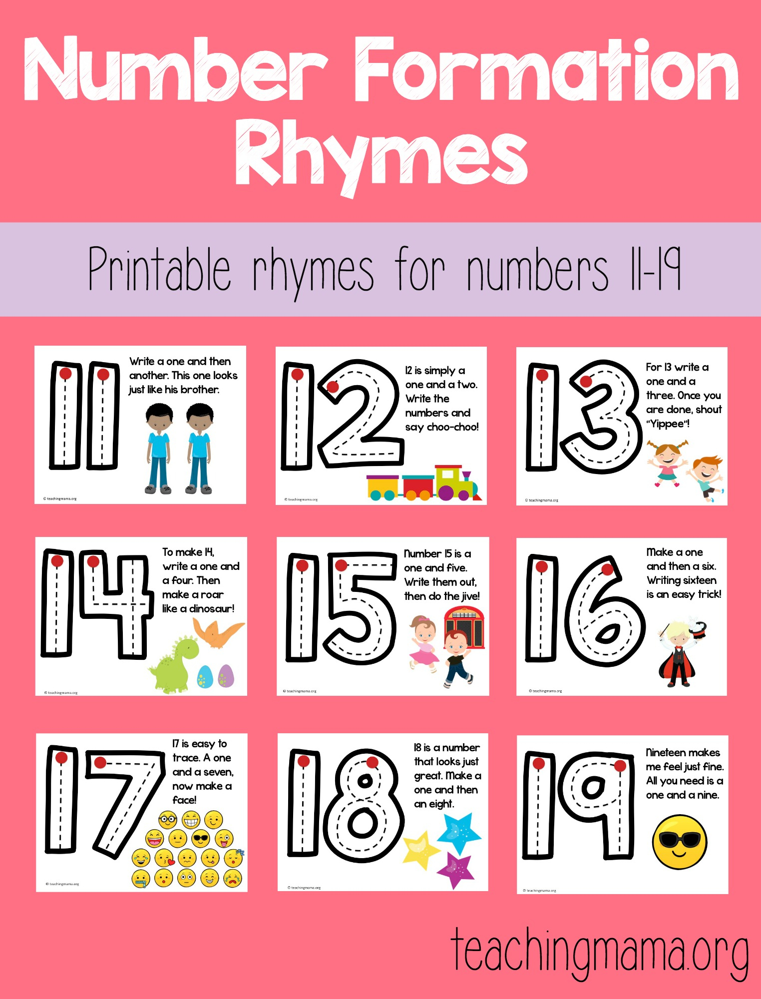Number Formation Rhymes For 11-19 in Alphabet Tracing Rhymes