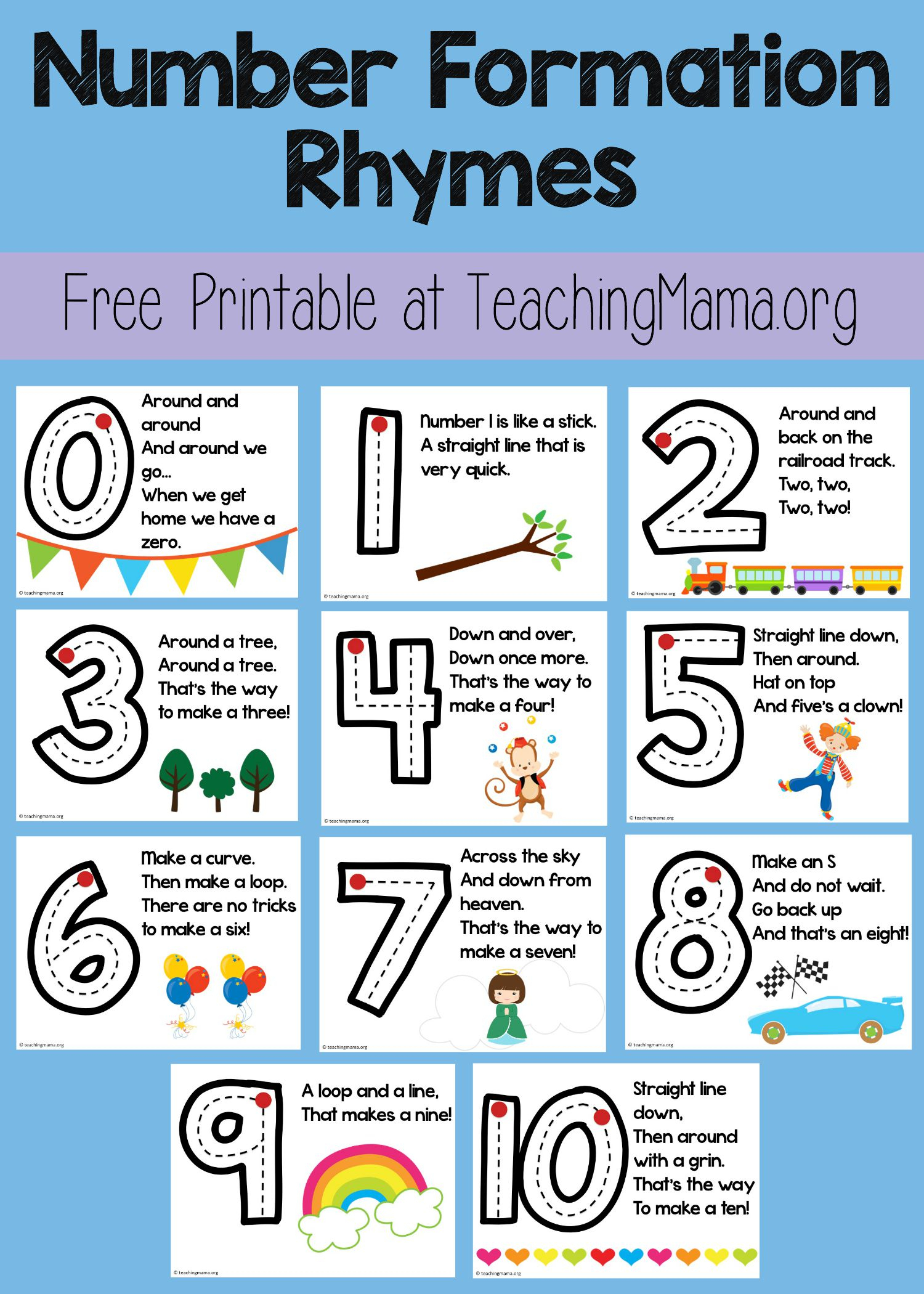 Number Formation Rhymes - Teaching Mama intended for Alphabet Tracing Rhymes