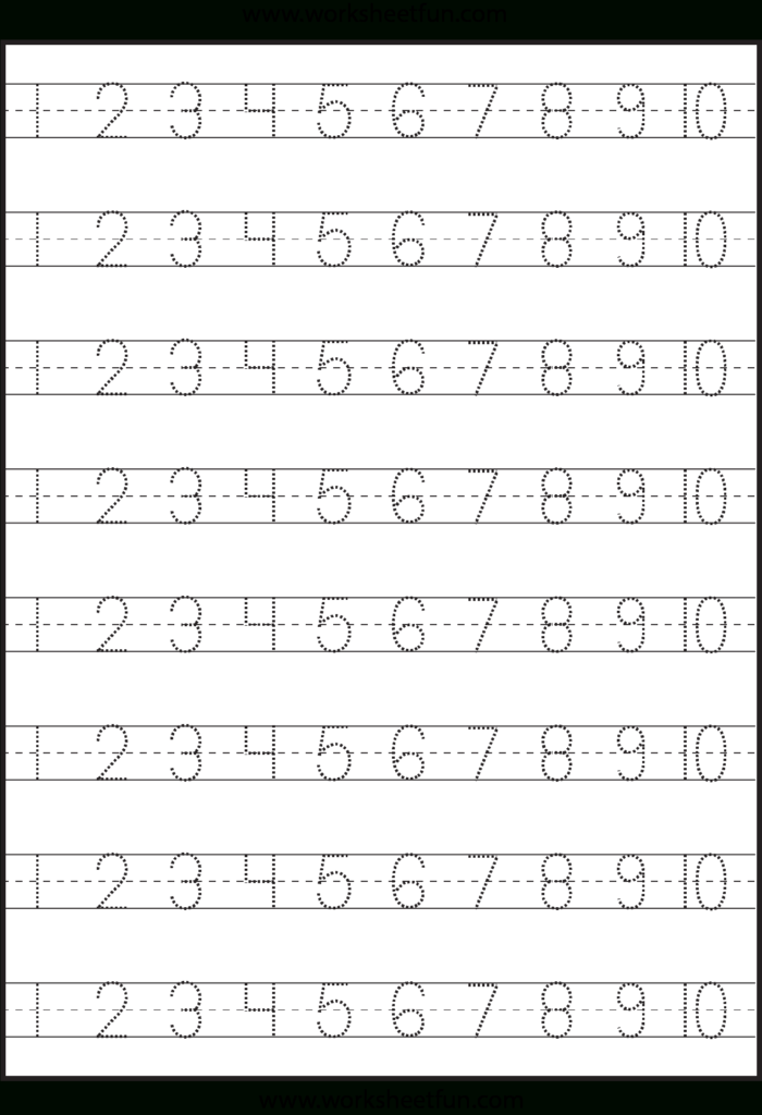 Number Tracing – 1 10 – Worksheet / Free Printable Pertaining To Alphabet Number Tracing