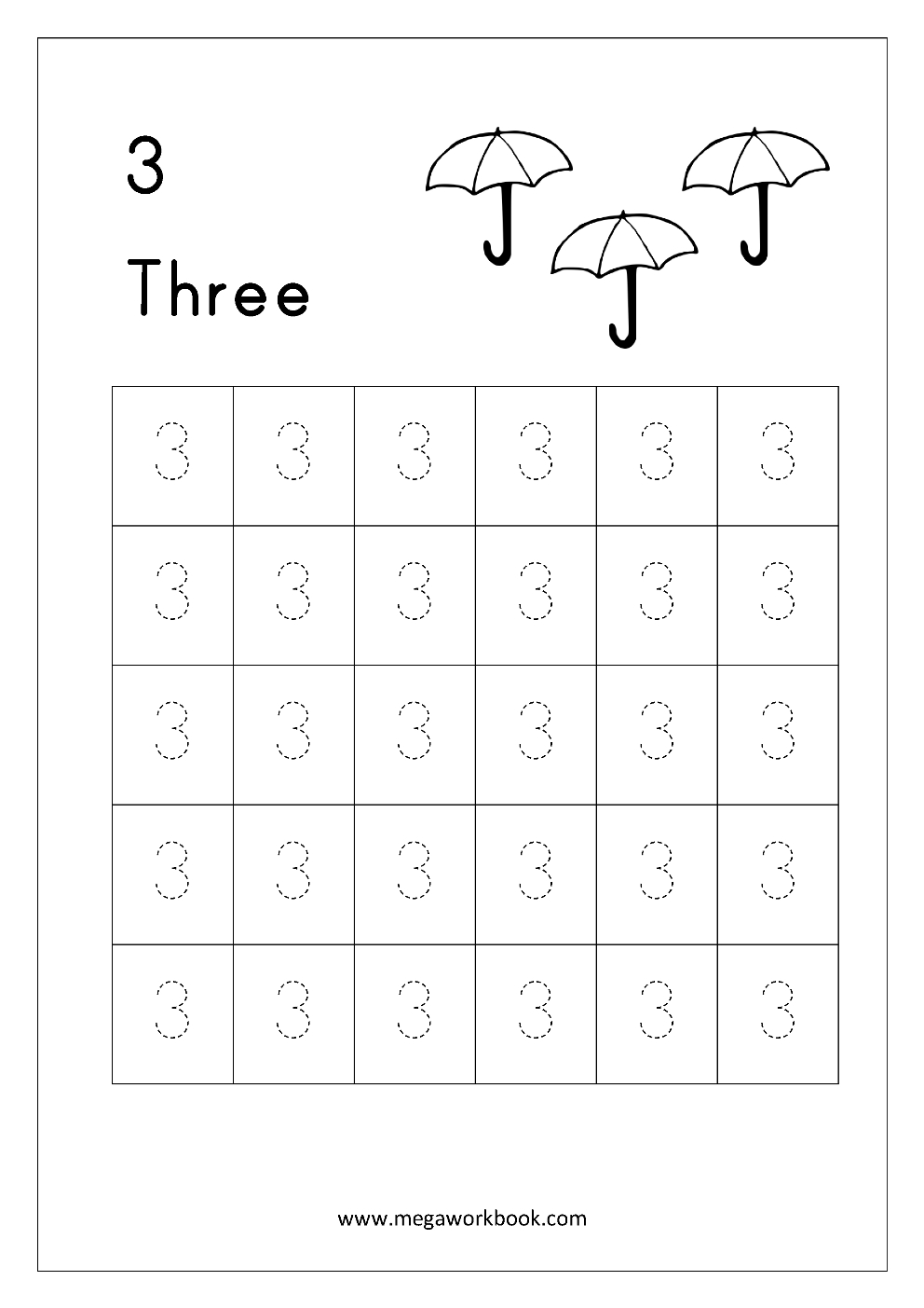 Number Tracing - Tracing Numbers - Number Tracing Worksheets for Letter 3 Tracing