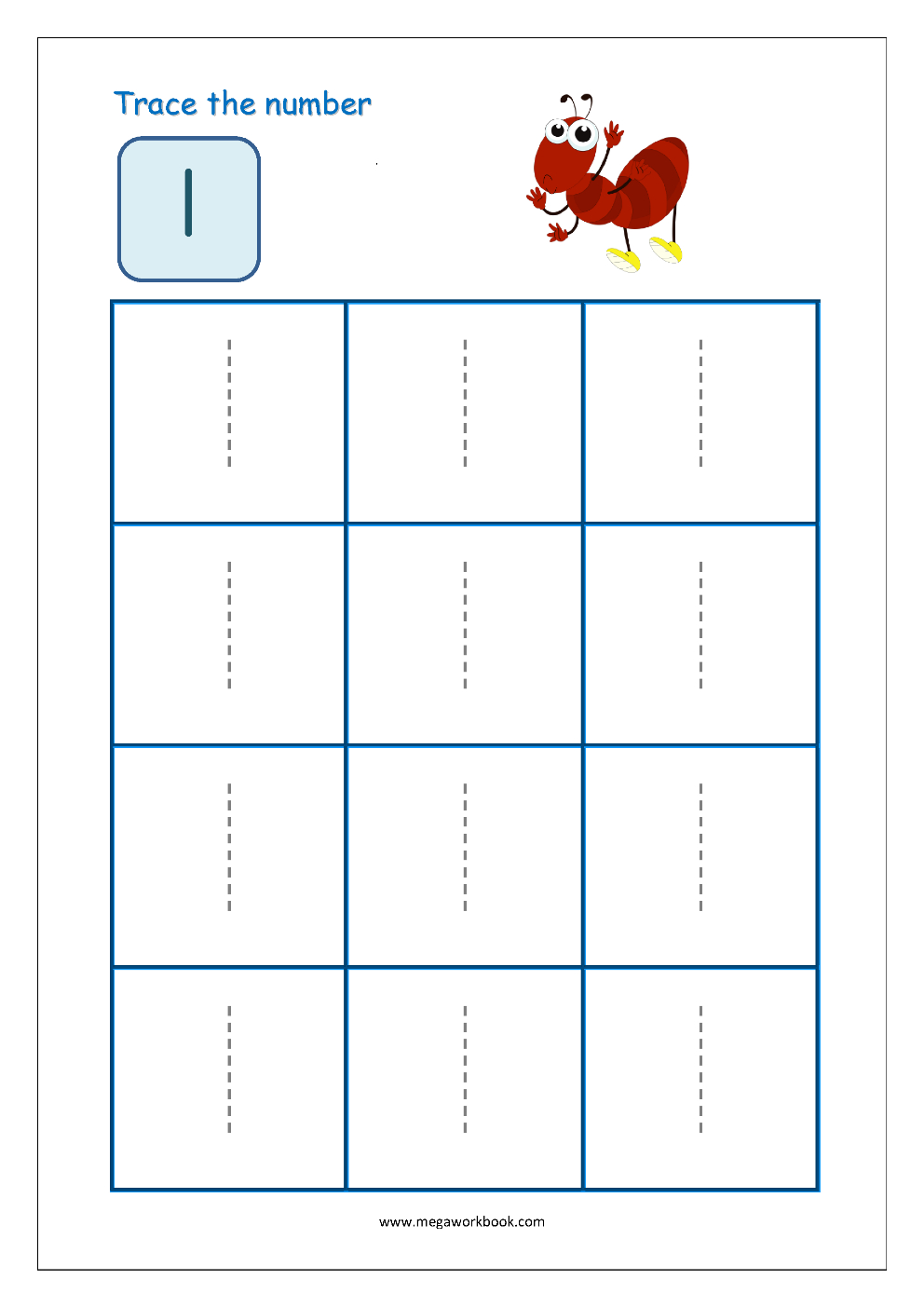 Number Tracing - Tracing Numbers - Number Tracing Worksheets inside Tracing Letter 1