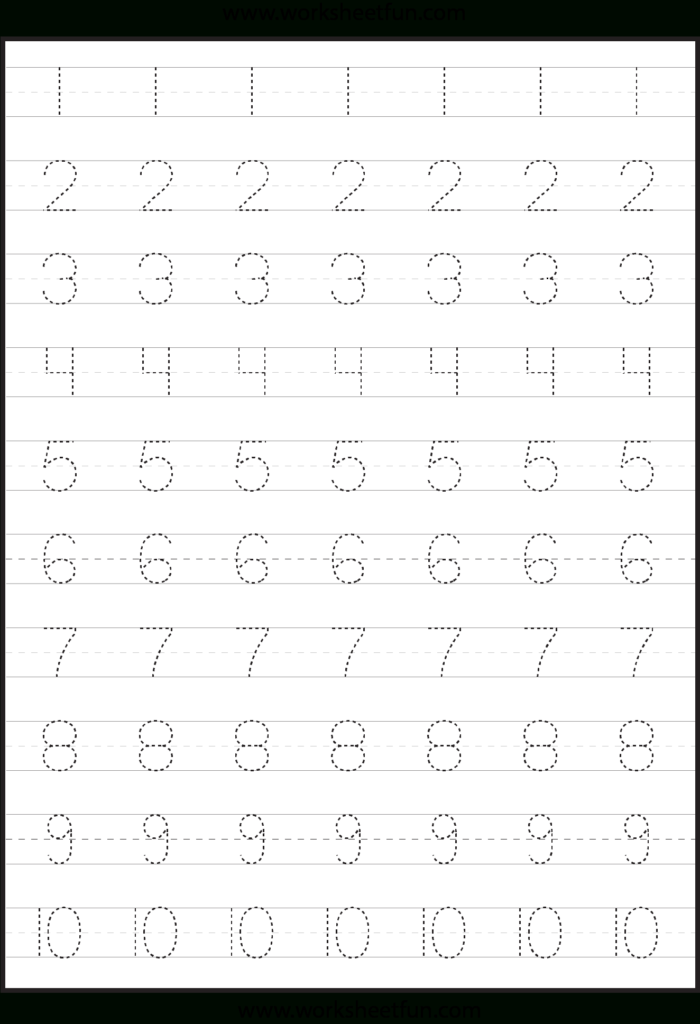 Number Tracing Worksheets For Kindergarten  1 10 – Ten With Regard To Tracing Letter 1