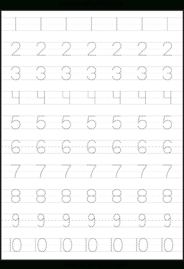 Number Tracing Worksheets For Kindergarten  1 10 – Ten With Regard To Tracing Letter 1