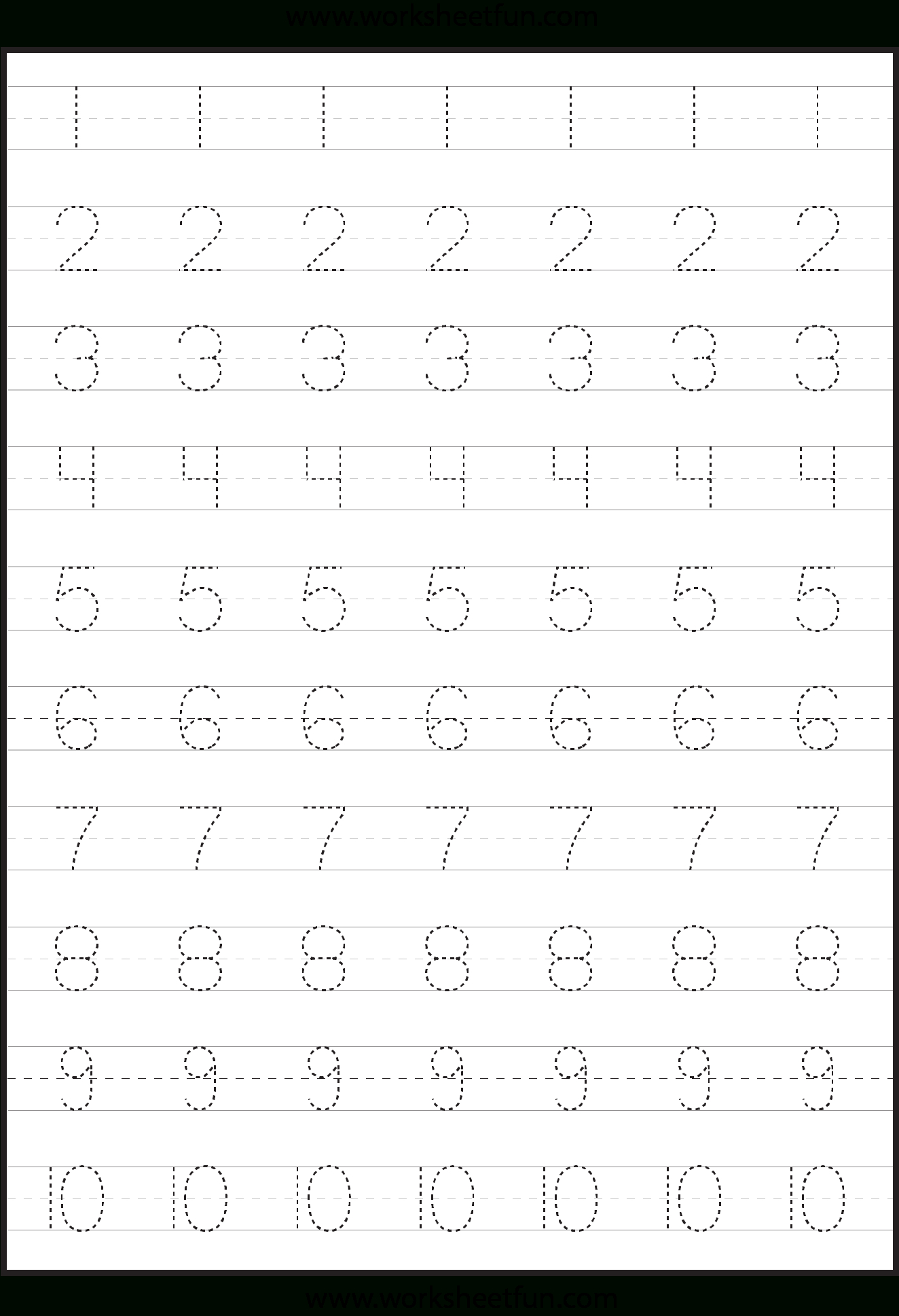 Number Tracing Worksheets For Kindergarten- 1-10 – Ten with regard to Tracing Letter 1