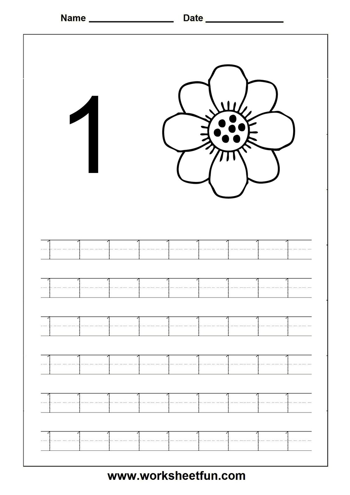 Number Tracing Worksheets For Kindergarten And Preschool inside Tracing Letter 1