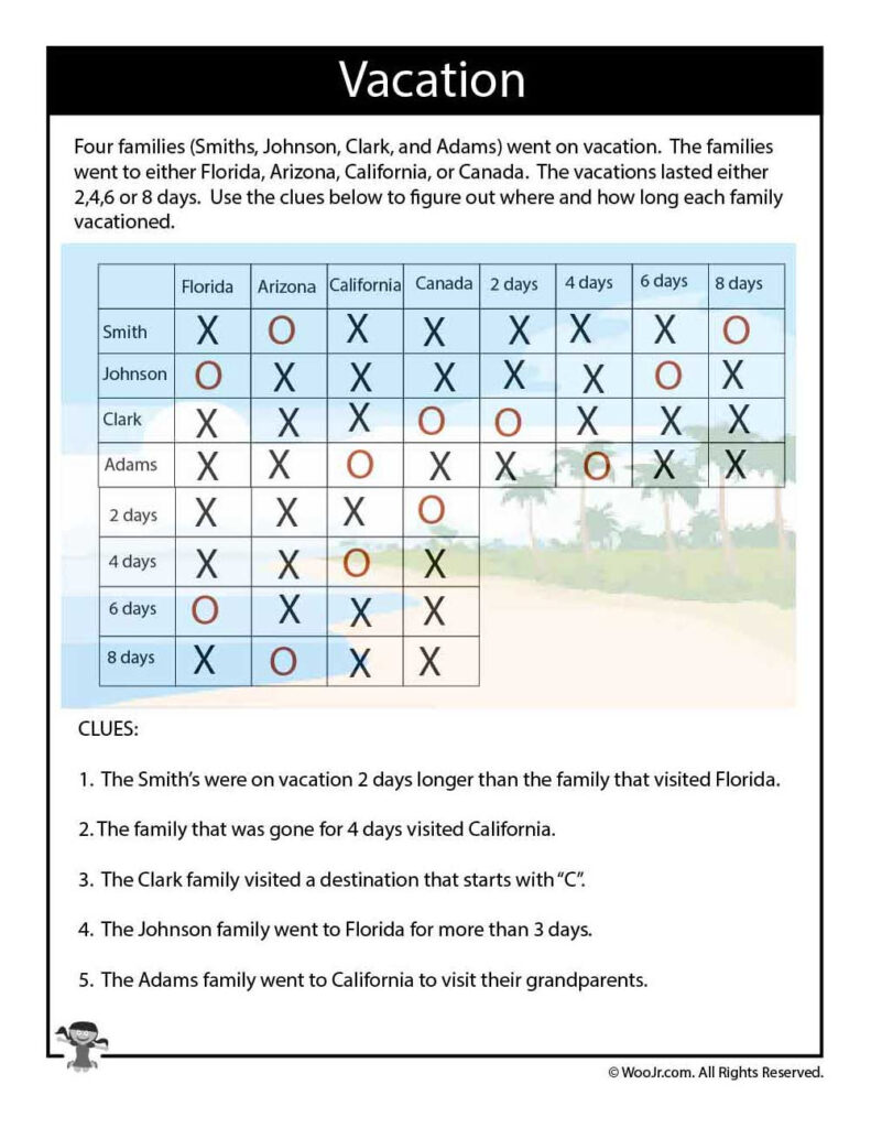 On Vacation Difficult Logic Puzzle   Answers | Woo! Jr. Kids Throughout Letter Logic Worksheets Answers