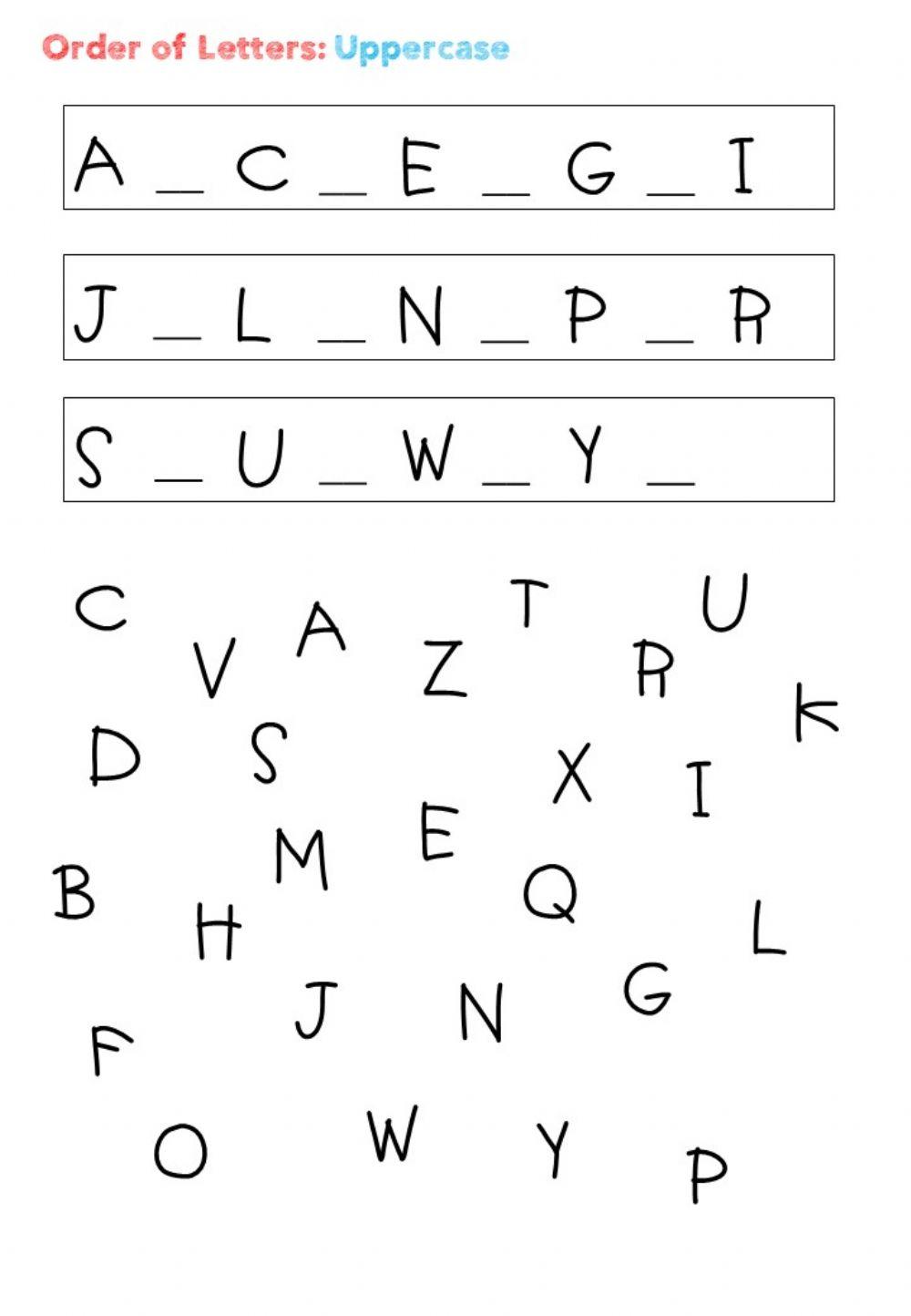 Order Of The Letter: Uppercase - Interactive Worksheet intended for Letter Order Worksheets